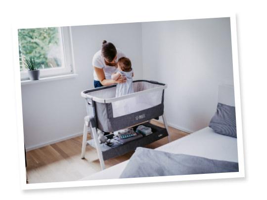 3. ermöglicht einen sicheren Babyschlaf im Elternschlafzimmer während der ersten 6 Lebensmonate